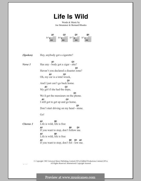 Life Is Wild (The Clash): Lyrics and chords by Bernard Rhodes, Joe Strummer