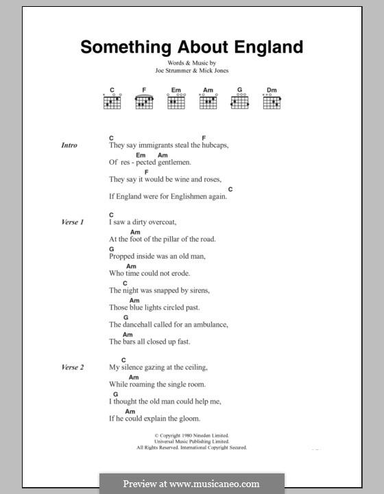 Something About England (The Clash): Lyrics and chords by Joe Strummer, Mick Jones