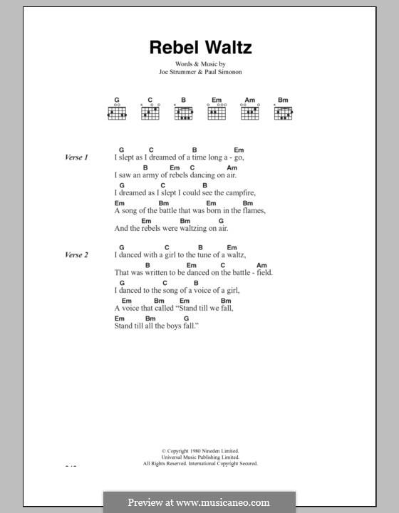 Rebel Waltz (The Clash): Lyrics and chords by Joe Strummer, Paul Simonon