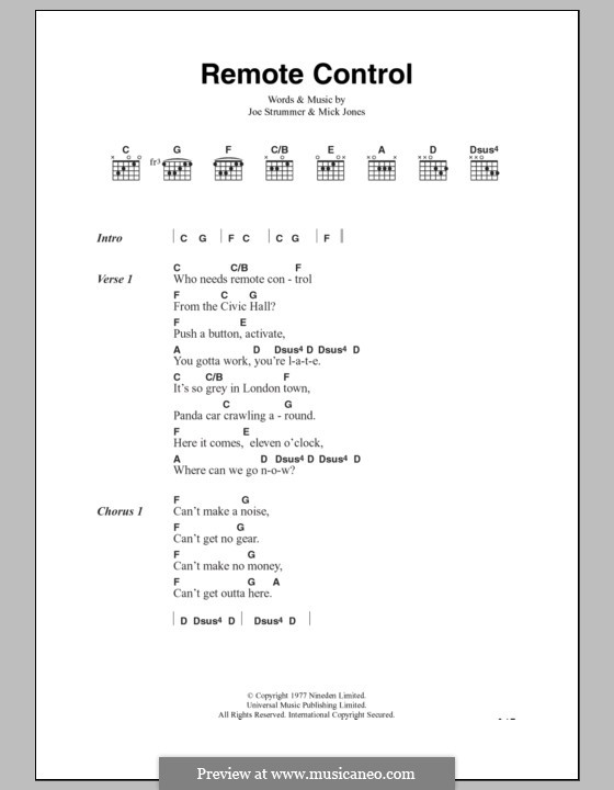 Remote Control (The Clash): Lyrics and chords by Joe Strummer, Mick Jones