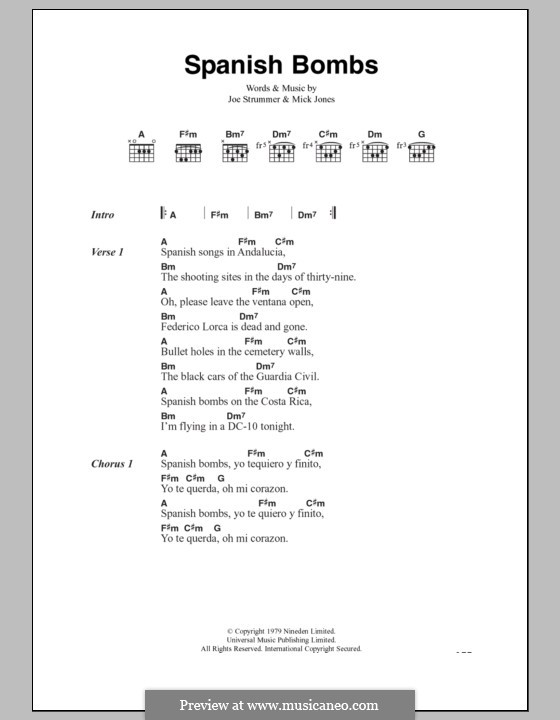 Spanish Bombs (The Clash): Lyrics and chords by Joe Strummer, Mick Jones