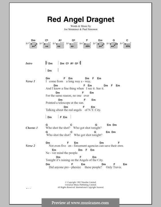 Red Angel Dragnet (The Clash): Lyrics and chords by Joe Strummer, Paul Simonon