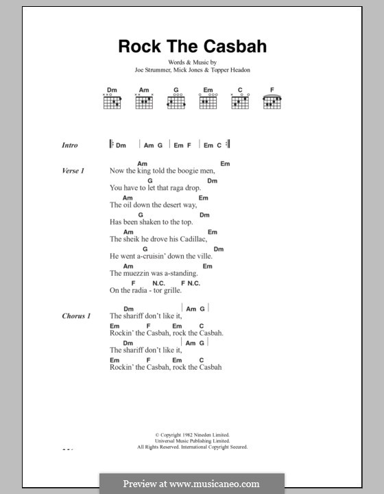 Rock the Casbah (The Clash): Lyrics and chords by Joe Strummer, Mick Jones, Topper Headon