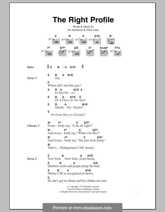 The Right Profile (The Clash): Lyrics and chords by Joe Strummer, Mick Jones