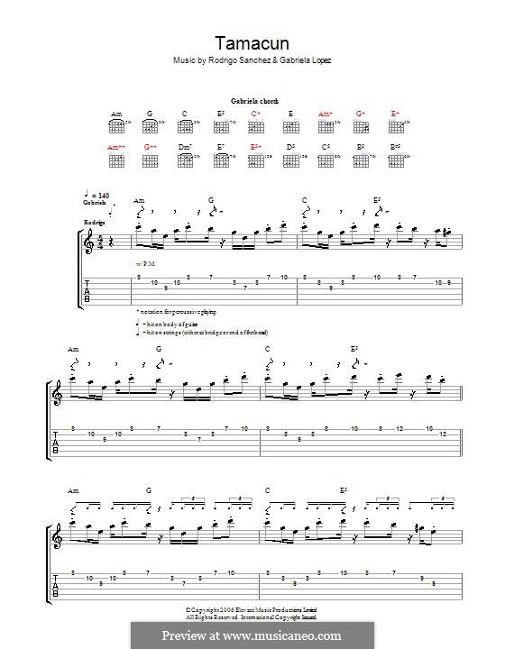 Tamacun: For guitar with tab by Gabriela Lopez, Rodrigo Sánchez