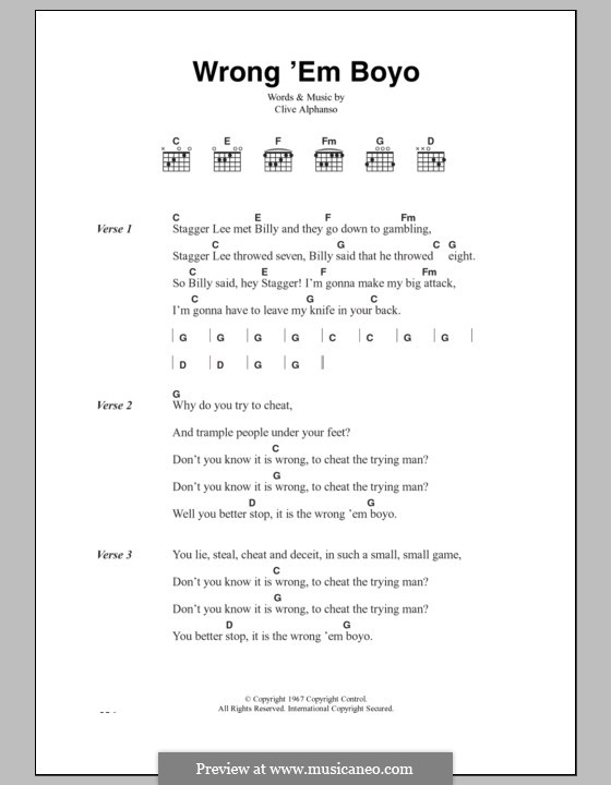 Wrong 'Em Boyo (The Clash): Lyrics and chords by Clive Alphonso