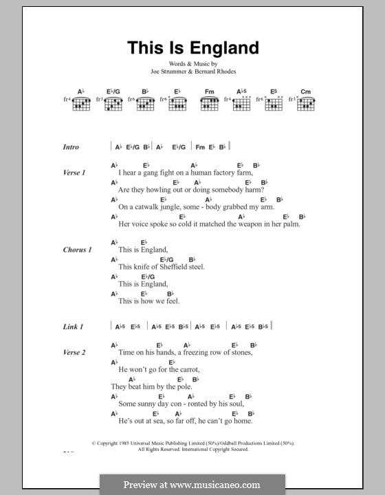 This Is England (The Clash): Lyrics and chords by Bernard Rhodes, Joe Strummer