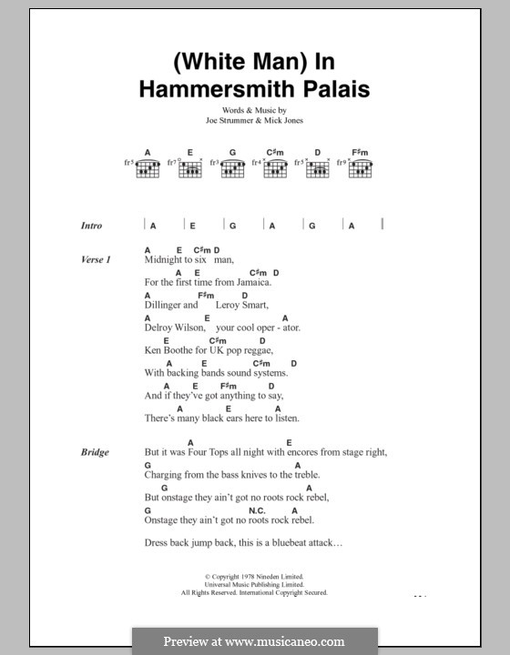 White Man in Hammersmith Palais (The Clash): Lyrics and chords by Joe Strummer, Mick Jones
