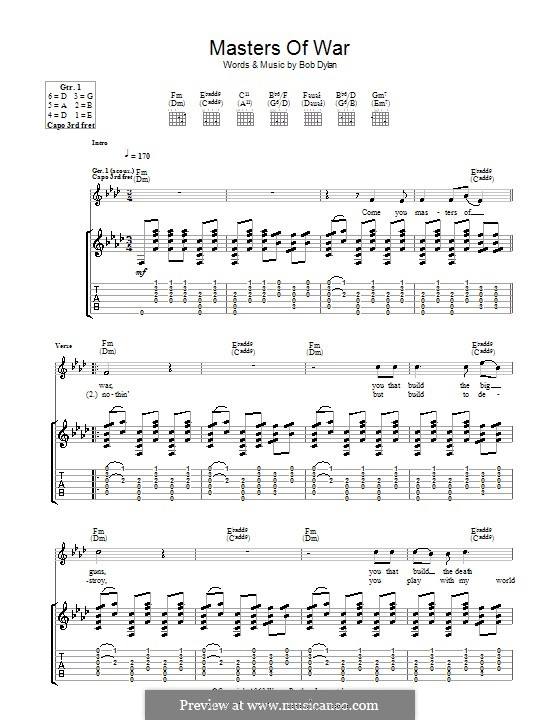 Masters of War: For guitar with tab by Bob Dylan