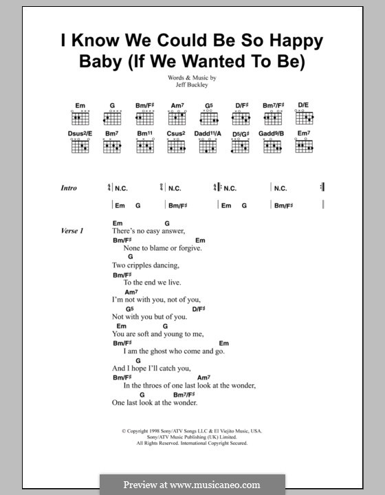 I Know We Could Be So Happy Baby (If We Wanted To Be): Lyrics and chords by Jeff Buckley