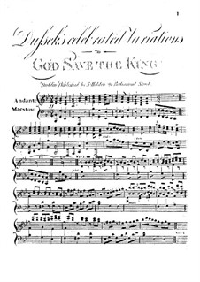 Variations to 'God Save the King': Variations to 'God Save the King' by Jan Ladislav Dussek