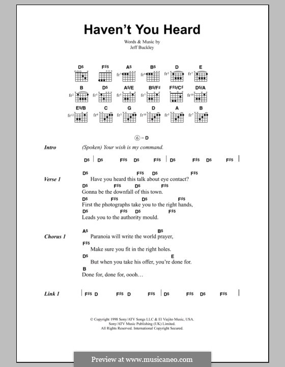 Haven't You Heard: Lyrics and chords by Jeff Buckley