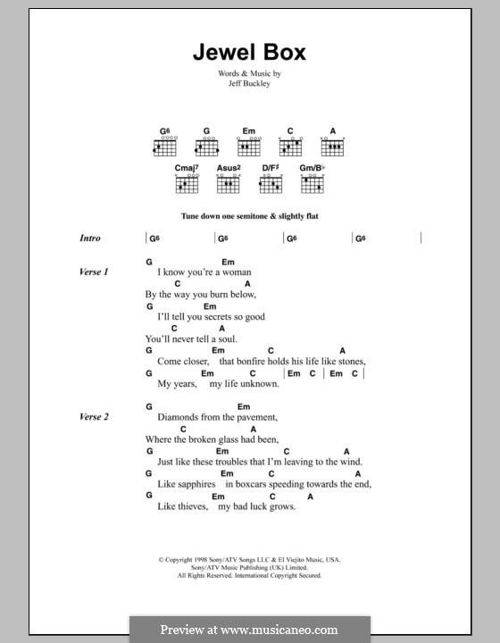 Jewel Box: Lyrics and chords by Jeff Buckley
