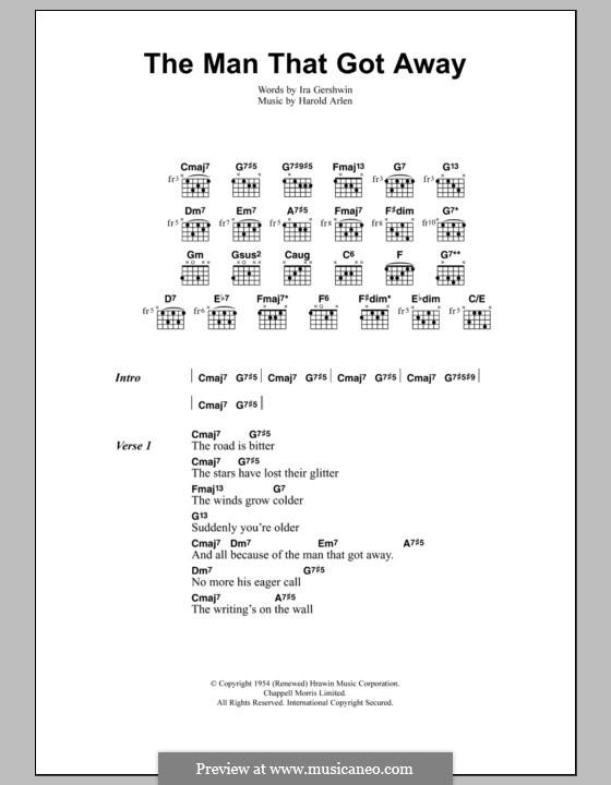 The Man That Got Away: Lyrics and chords (Jeff Buckley) by Harold Arlen