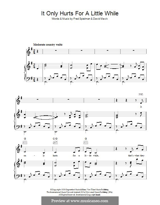 It Only Hurts for a Little While: For voice and piano (or guitar) by Fred Spielman