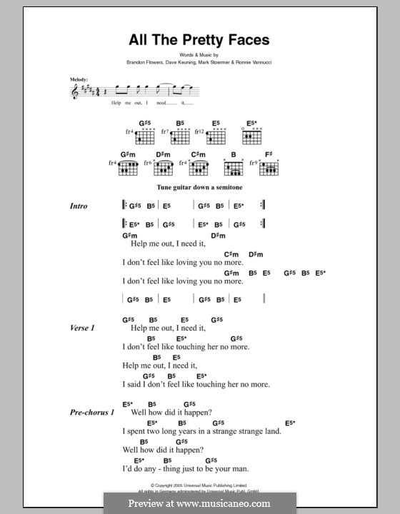 All the Pretty Faces (The Killers): Lyrics and chords by Brandon Flowers, Dave Keuning, Mark Stoermer, Ronnie Vannucci