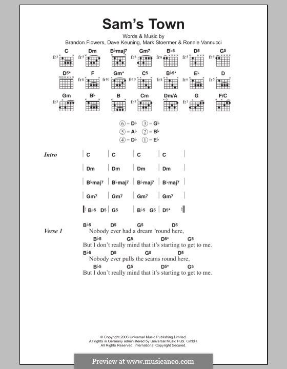Sam's Town (The Killers): Lyrics and chords by Brandon Flowers, Dave Keuning, Mark Stoermer, Ronnie Vannucci