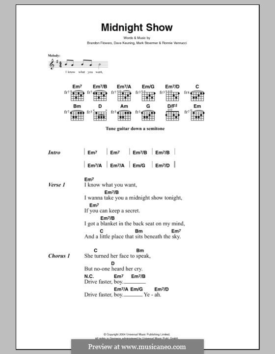Midnight Show (The Killers): Lyrics and chords by Brandon Flowers, Dave Keuning, Mark Stoermer, Ronnie Vannucci