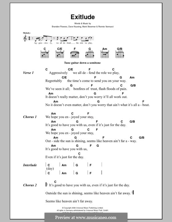 Exitlude (The Killers): Lyrics and chords by Brandon Flowers, Dave Keuning, Mark Stoermer, Ronnie Vannucci