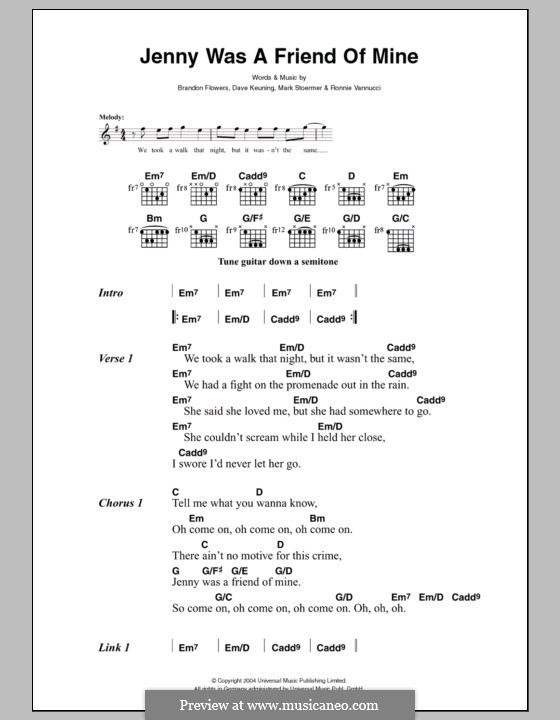 Jenny Was a Friend of Mine (The Killers): Lyrics and chords by Brandon Flowers, Dave Keuning, Mark Stoermer, Ronnie Vannucci