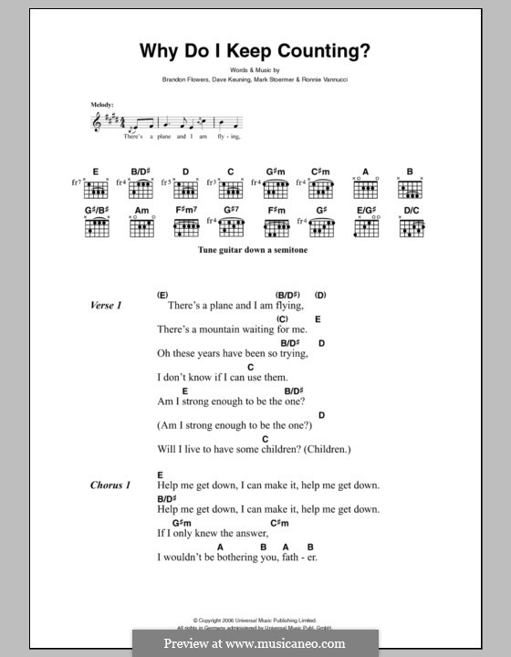 Why Do I Keep Counting (The Killers): Lyrics and chords by Brandon Flowers, Dave Keuning, Mark Stoermer, Ronnie Vannucci