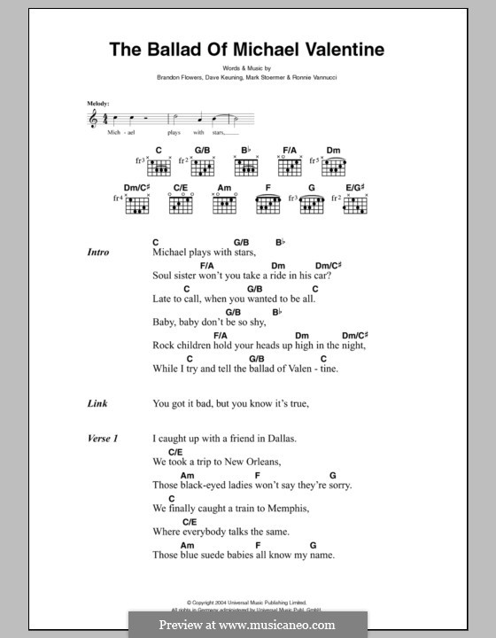 The Ballad of Michael Valentine (The Killers): Lyrics and chords by Brandon Flowers, Dave Keuning, Mark Stoermer, Ronnie Vannucci