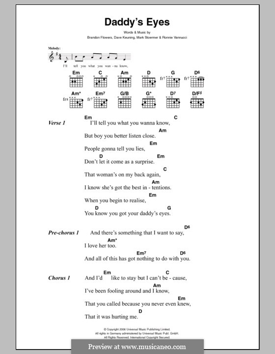 Daddy's Eyes (The Killers): Lyrics and chords by Brandon Flowers, Dave Keuning, Mark Stoermer, Ronnie Vannucci