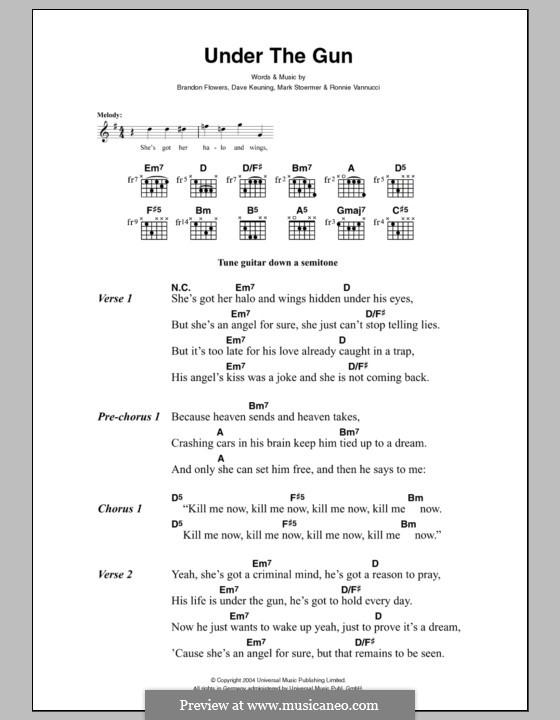Under the Gun (The Killers): Lyrics and chords by Brandon Flowers, Dave Keuning, Mark Stoermer, Ronnie Vannucci