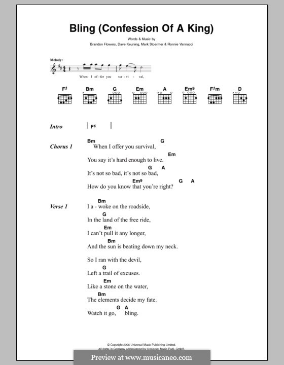 Bling (Confession of a King): Lyrics and chords by Brandon Flowers, Dave Keuning, Mark Stoermer, Ronnie Vannucci