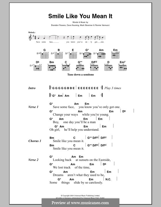 Smile Like You Mean it (The Killers): Lyrics and chords by Brandon Flowers, Dave Keuning, Mark Stoermer, Ronnie Vannucci