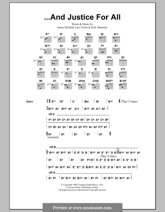 ...And Justice for All (Metallica): Lyrics and chords by James Hetfield, Kirk Hammett, Lars Ulrich