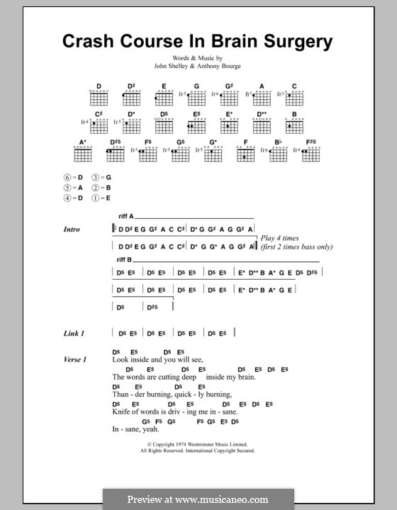 Crash Course in Brain Surgery (Metallica): Lyrics and chords by Anthony Bourge, John Shelley