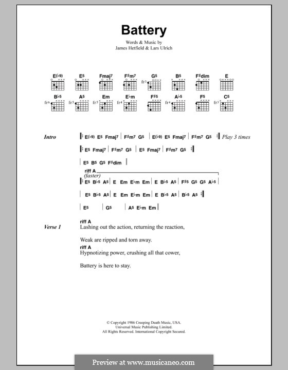 Battery (Metallica): Lyrics and chords by James Hetfield, Lars Ulrich