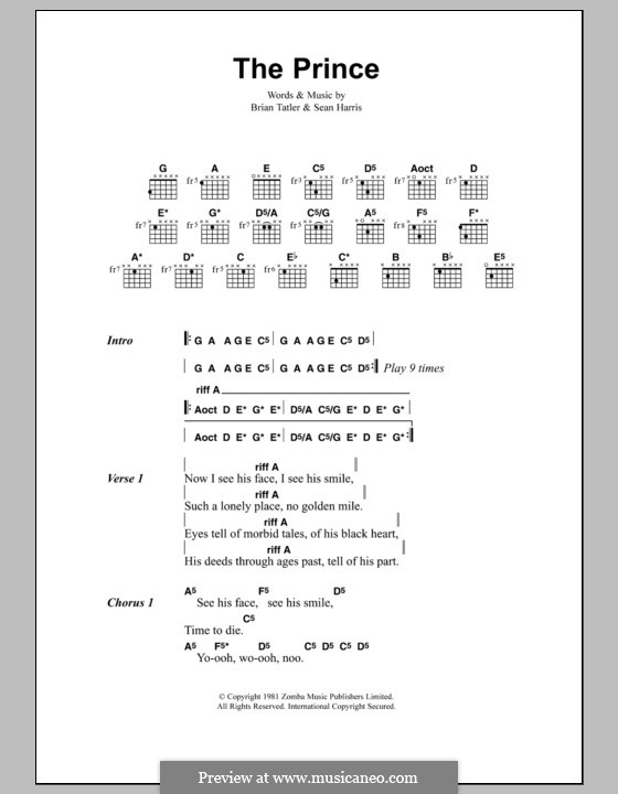 The Prince (Metallica): Lyrics and chords by Brian Tatler, Sean Lindon Harris