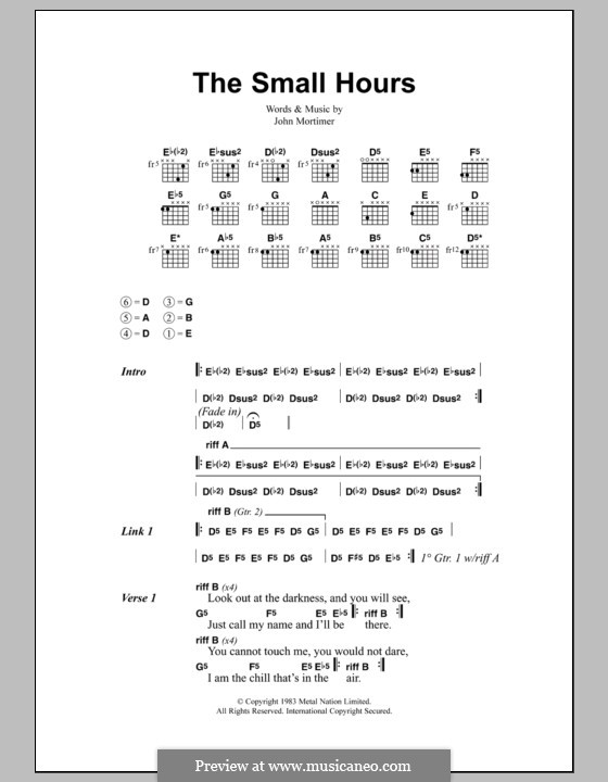 The Small Hours (Metallica): Lyrics and chords by John Mortimer