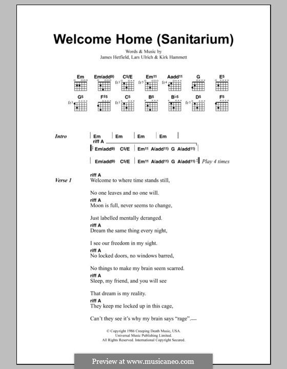 Welcome Home (Sanitarium): Lyrics and chords (Metallica) by James Hetfield, Kirk Hammett, Lars Ulrich