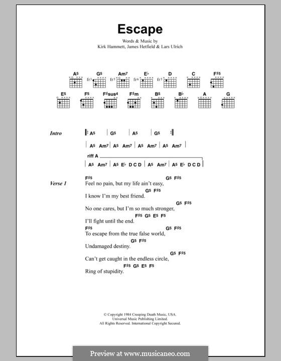 Escape (Metallica): Lyrics and chords by James Hetfield, Kirk Hammett, Lars Ulrich