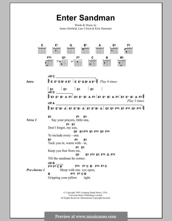 Enter Sandman (Metallica): Lyrics and chords by James Hetfield, Kirk Hammett, Lars Ulrich