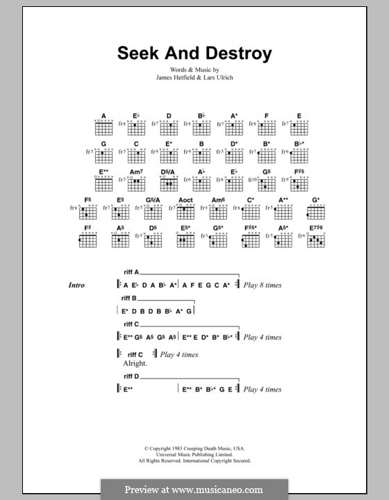 Seek and Destroy (Metallica): Lyrics and chords by James Hetfield, Lars Ulrich