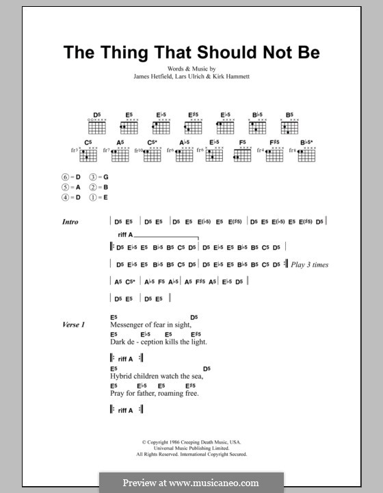 The Thing That Should Not Be (Metallica): Lyrics and chords by James Hetfield, Kirk Hammett, Lars Ulrich