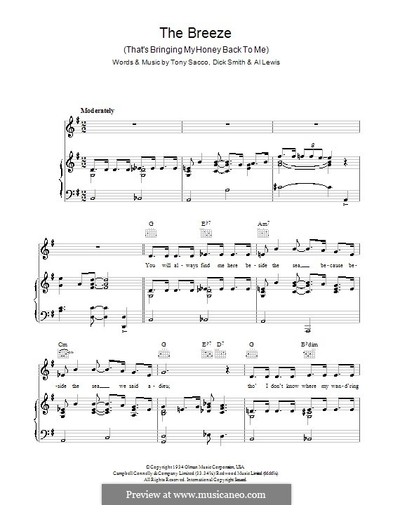 The Breeze (That's Bringing My Honey Back To Me): For voice and piano (or guitar) by Dick Smith, Tony Sacco
