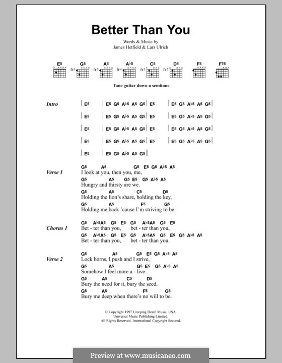 Better Than You (Metallica): Lyrics and chords by James Hetfield, Lars Ulrich