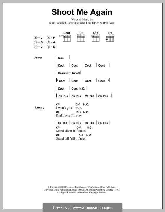 Shoot Me Again (Metallica): Lyrics and chords by Bob Rock, James Hetfield, Kirk Hammett, Lars Ulrich