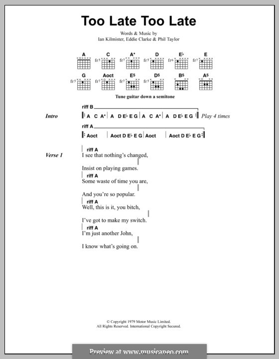 Too Late, Too Late (Metallica): Lyrics and chords by Edward Clarke, Ian Kilmister, Philip Taylor