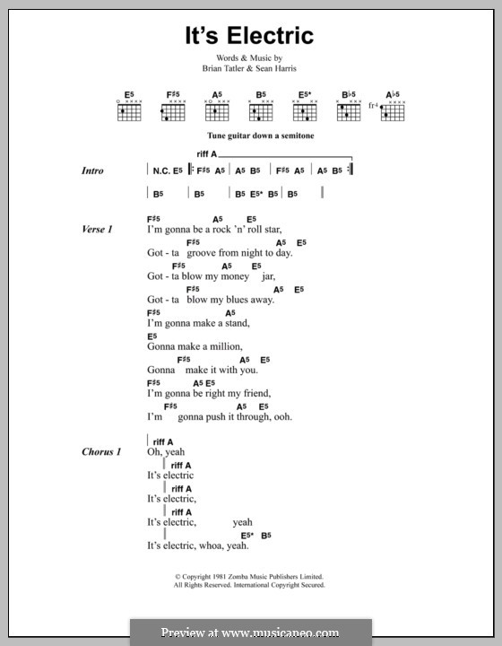 It's Electric (Metallica): Lyrics and chords by Brian Tatler, Sean Lindon Harris