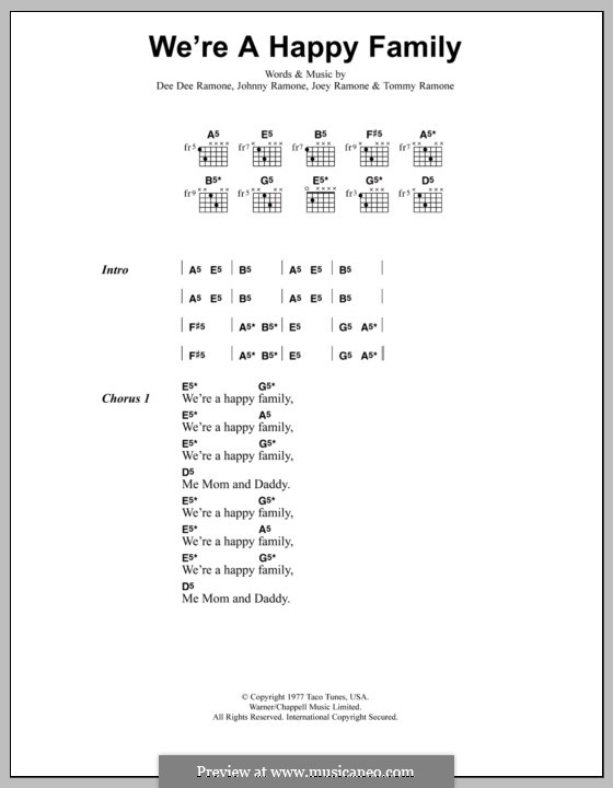 We're a Happy Family (Metallica): Lyrics and chords by Dee Dee Ramone, Joey Ramone, Johnny Ramone, Tommy Ramone