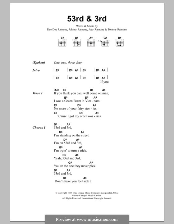 53rd and 3rd (Metallica): Lyrics and chords by Dee Dee Ramone, Joey Ramone, Johnny Ramone, Tommy Ramone