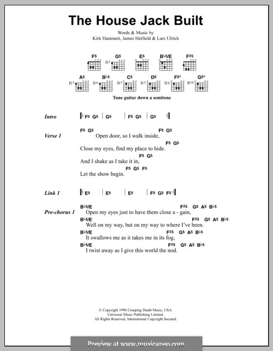 The House Jack Built (Metallica): Lyrics and chords by James Hetfield, Kirk Hammett, Lars Ulrich