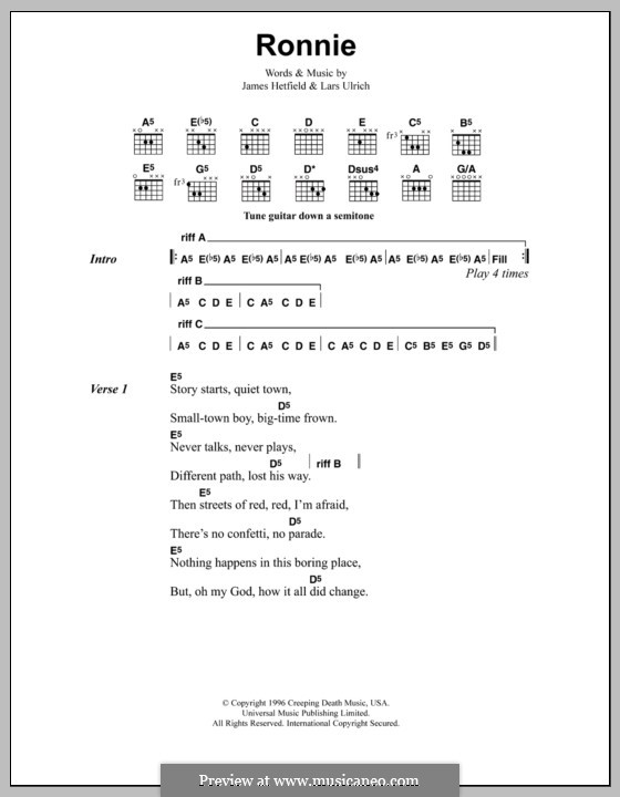 Ronnie (Metallica) by J. Hetfield, L. Ulrich - sheet music on MusicaNeo