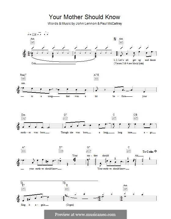 Your Mother Should Know (The Beatles): Melody line, lyrics and chords by John Lennon, Paul McCartney